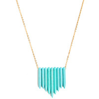 Turquoise Pentagon Frayed Necklace