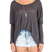 Solid Long Sleeve Dolman Top - Charcoal