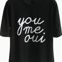 Black Short Sleeve T-Shirt w/ French Graphic Quote