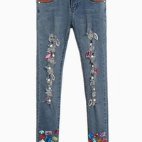 Blue Jean Pants w/ Multicolor Crystal Embellishments & Rippe