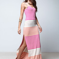 PINK GRADIENT STRIPES MAXI DRESS