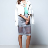 GREY SHEER STRIPES JERSEY SKIRT