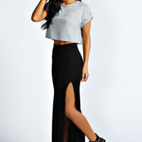 Soraya Black Thigh High Split Maxi Skirt