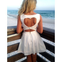 Queen of Hearts White Cut Out Beach Dress