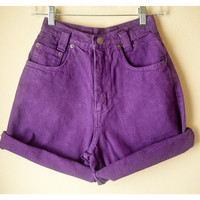 80s 90s Purple High Waist Denim Shorts // Hot Pants Blue Jeans Faded Romantic London