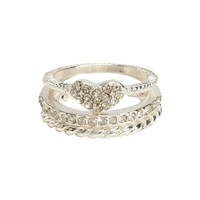 Heart, Pavé & Twist Ring 3-Pack