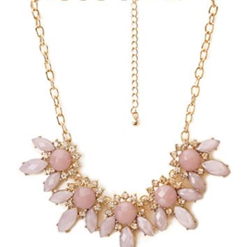 Floral Faux Gemstone Necklace