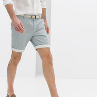 PRINTED BERMUDA SHORTS WITH BELT