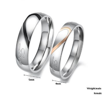 "MagicPieces Fashion Jewelry "" Love "" Heart Pattern Titanium Stainless Steel Couples Ring"