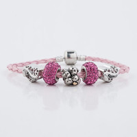 Mom Gift Silver Spacer Leather Murano Glass European Beads Charms Bracelet Lots