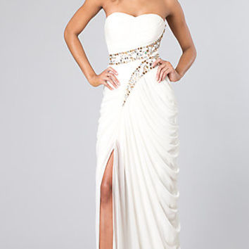 Long Strapless Dress with Grecian Drape