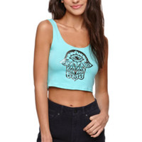 LA Hearts Henna Hand Fit Cropped Tank - Womens Tee - Green -