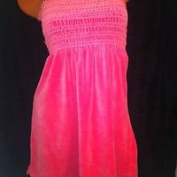 JUICY COUTURE BUBBLE GUM PINK VELOUR Summer STRAPLESS SUNDRESS,BEACH COVER UP L