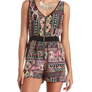 STRAPPY BACK ZIP-UP AZTEC ROMPER