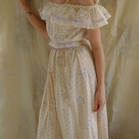 Vintage Prairie Dress... Size Small... gown boho hippie bridesmaid wedding country woodland tea party free people whimsical alternative