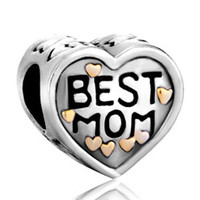 Pugster Love Mom Daughter European Charm Beads Fit Bracelet Mothers Day Gifts