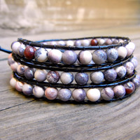 Beaded Leather Wrap Bracelet 3 Wrap with Terra Rosa Jasper Gemstone Beads on Black Leather READY TO SHIP