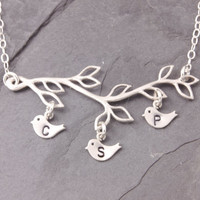 Initial Necklace, 1 to 9 kids, personalized jewelry, three initials, mothers day jewelry, mom necklace, three kids, triplets, silver, N11-2