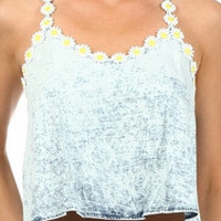 Denim Daisy Strap Top