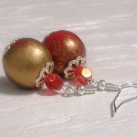 Festive Handpainted Red Gold Wooden Holiday by MozieandMario