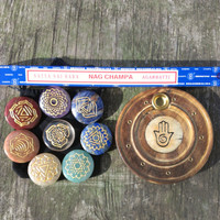 8 Piece Engraved CHAKRA HEALING STONES Set Plus Nag Champa Incense & Burner