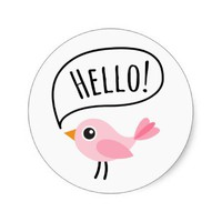 Cute pink bird saying Hello cartoon