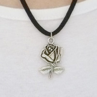 silver rose necklace black suede necklace silver rose charm necklace for women fashion jewellery handmade necklace black and silver necklace