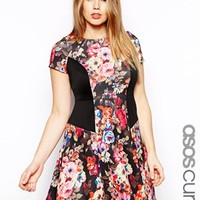 ASOS CURVE Exclusive Skater Dress In Kaleidescope Floral