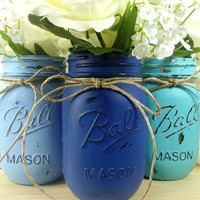 Rustic, Hand Painted Mason Jars, Set of 3 Mason Jars, Medium Blue, Dark Blue and Teal Painted Jars