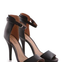 Robbi PU Ankle Strap Stiletto in Black at Fashion Union