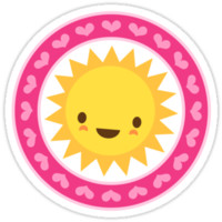 Cute sun with pink heart border stickers