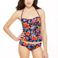 Tropical Heart Dot Cinch Tankini