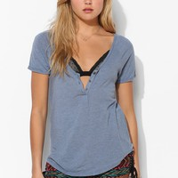 Truly Madly Deeply U-Neck Henley Tee - Urban Outfitters