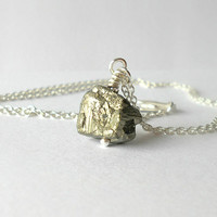 Gold Dust Pyrite Necklace / Sterling Silver Gemstone Minimalist Necklace