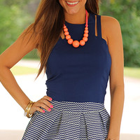 Bengaline Crop Top, Navy