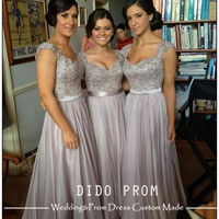 Custom Made Silver Gray Prom Dress,Sexy Prom Dress,Chiffon Prom Dress,Lace Prom Dresses,Cap Sleeves Prom Dress,Dresses For Prom