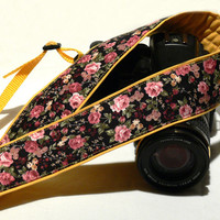 DSLR Camera Strap. Floral Camera Strap. Yellow Camera Strap with flowers. Women Accessories