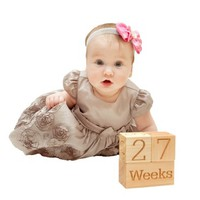 Natural Wood Baby Age Blocks, Maternity Blocks for Baby Shower Gifts