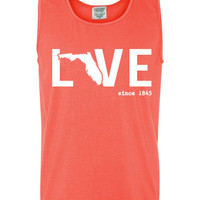 Custom Florida Love Comfort Color Tank Top.  Show Your state pride and state love. Perfect for the Summer and the Beach