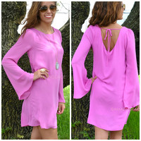 Dahlia Orchid Bell Sleeve Dress