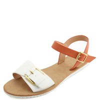 TWO-PIECE BUCKLED COLOR BLOCK SANDALS