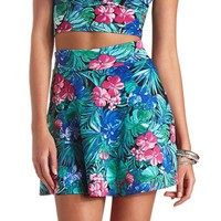 TROPICAL FLORAL PRINT SKATER SKIRT