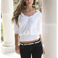 CRINKLED KNIT PEASANT TOP | Body Central