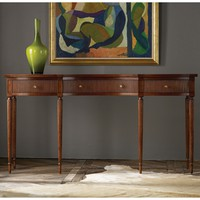 Modern History Home Ribbed Drawer Fruitwood Console Table