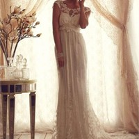 Gorgeous off shoulder v-neck court train Lace wedding dresses MLVB00142