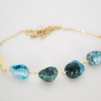 Turquoise Agate Nugget Beads Raw Brass Necklace