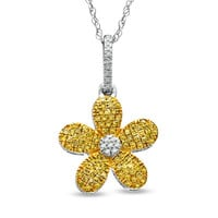 1/4 CT. T.W. Enhanced Yellow and White Diamond Daisy Pendant in 10K White Gold - Clearance - Zales
