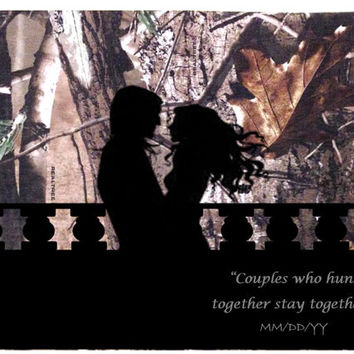 Canvas wall art- wedding date, hunting silhouette, Couples who hunt together, stay together