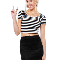 Papaya Clothing Online :: FLORAL STRIPE CROP TOP