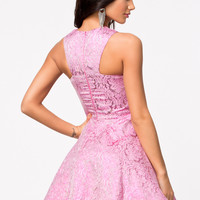 BROCADE PRINT METALLIC SKATER MIDI DRESS
